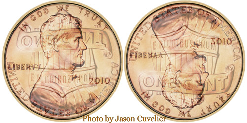 Lincoln Shield Cent - clashed dies overlay
